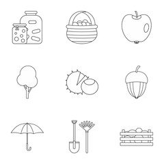 Autumn coming icons set, outline style