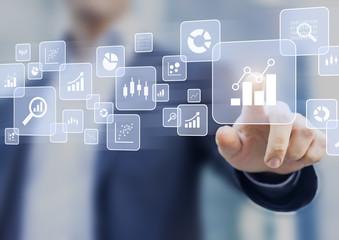 Big data analytics and business intelligence (BI) concept, icons