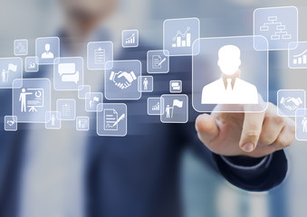 Human resources (HR) management concept on a virtual screen interface