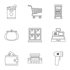 Supermarket icons set, outline style