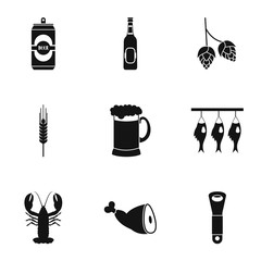 Pub icons set, simple style