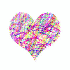 Abstract heart with bright colorful pattern