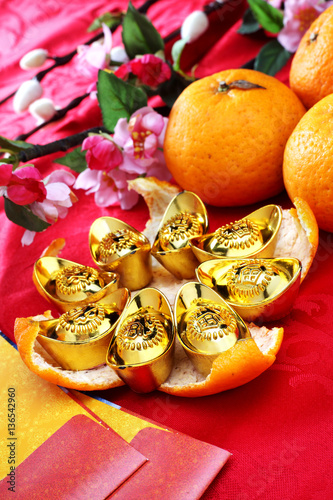 happy chinese new year golden ingots on mandarin orange peel - Happy Chinese New Year In Mandarin