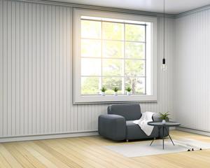 Interior design of  living room , scandinavian style.gray sofa on white room, 3d render.