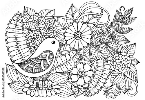 Kleurplaat Fiona Quot Bird And Flowers Doodle Black And White Drawing Quot Stock
