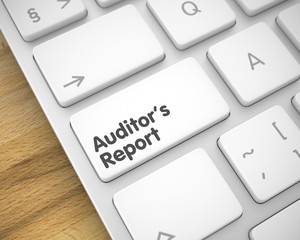 Auditors Report - Text on White Keyboard Button. 3D.