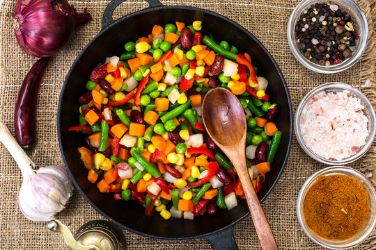 Mexican mixture of vegetables, cooked in a frying pan