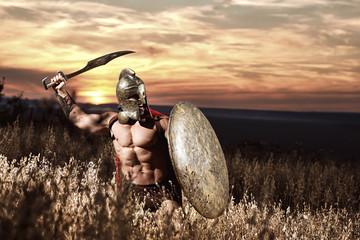 Warrior in helmet with bare torso going in attack.