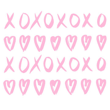 Hand drawn vector pattern with XOXO and hearts on white background