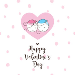 Valentine's card with copy space. Greeting card template. Seamless pattern at the background.