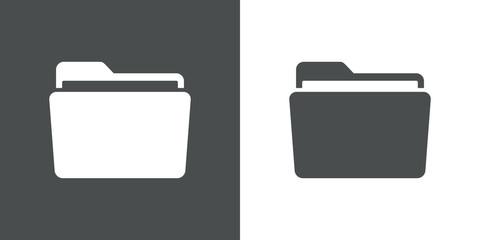 Icono plano carpeta gris y blanco