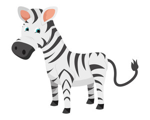 Cute Flat Animal Character Logo - Zebra
