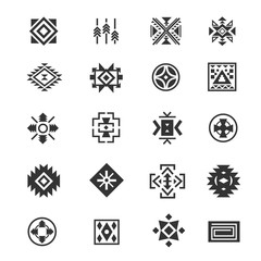Traditional tribal mexican symbols. Navajo ethnic culture vector tattoo icons for print.