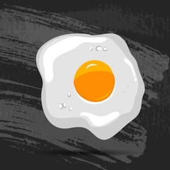 Scrambled eggs, one on a chalk board background. Vector illustration.