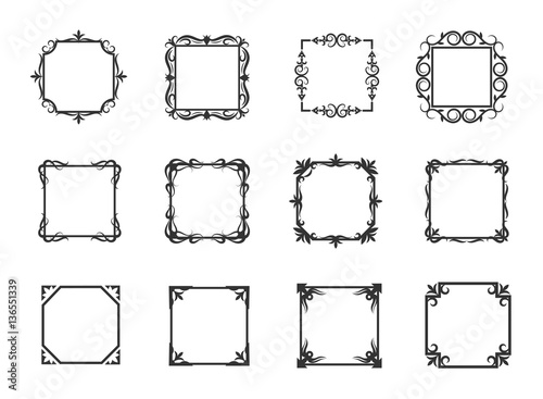 Simple swirl thin line floral frames and linear flourish borders for simple swirl thin line floral frames and linear flourish borders for invitations vector illustration stopboris Image collections