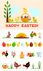 Easter symbols collection for building your retro greeting card. Trendy geometric illustrations.