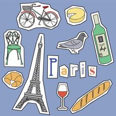 Set of Paris landmarks and icons