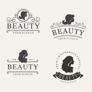 Vector vintage logo set for beauty salon, hair salon, cosmetic