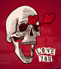 valentines card - vintage skull with heart shaped eyes on red background