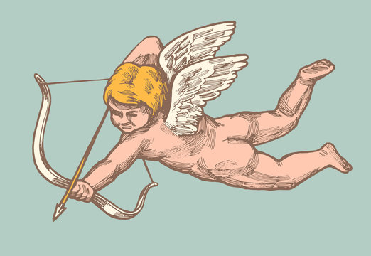 vintage valentines day pink cupid with bow and arrow on blue background