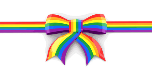 Multi Colored Celebration Bow. Image with clipping path