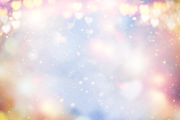Holiday abstract pastel glowing blurred background blur, bokeh. Valentine Hearts.