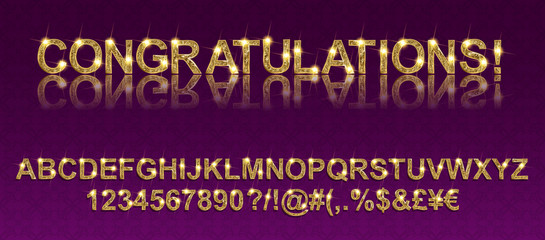 Congratulations. Gold alphabetic fonts and numbers. Vector illustration