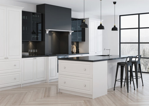 Kitchen interior design in classic style. 3D rendering.