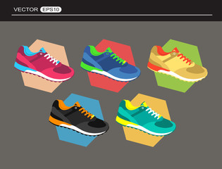 Set of comfortable sneakers for training on colored background