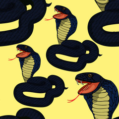 seamless pattern green king cobra with fangs.