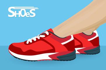 Women foot in sport shoes