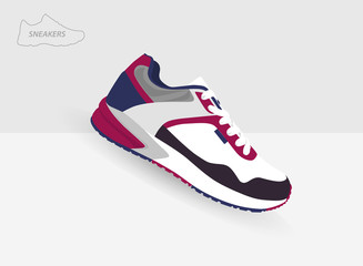 colored  sneaker for training on grey background