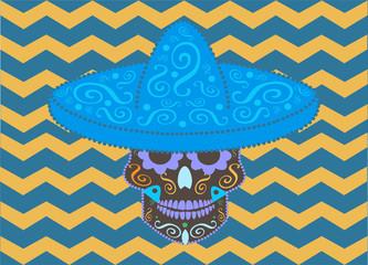 Skull vector icon with sombrero hat background