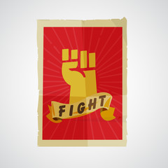 Fist raised up in poster paper. Protest and revolution concept -