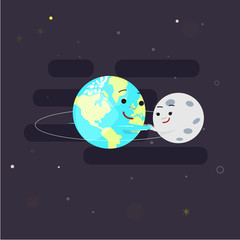 Earth holding hand with moon for play around orbit circle. character design. orbit study for kid - vector illustration