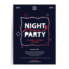 Party invitation flyer template. Dark background with geometric frame. Applicable to banner, placard, advertising, event design.
