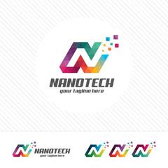 Colorful letter N logo design vector for technology. Digital logo pixel concept with pixel shades gradient color.