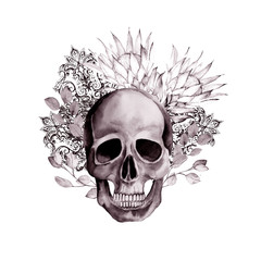 Watercolor gothic pattern. Hand drawn skull with protea and paisley for tattoo, print, textile