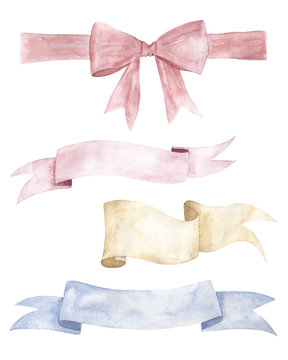 Set of colorful watercolor ribbons for decoration, cards, banner