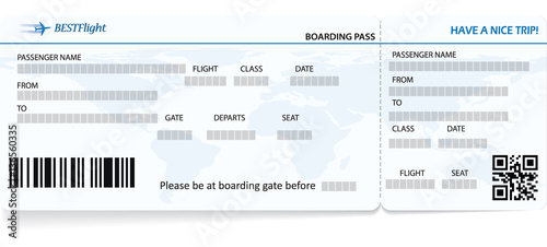 blue vector template of boarding pass ticket concept of