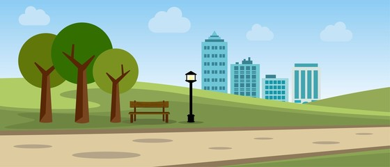 Public Park In The City Vector Illustration