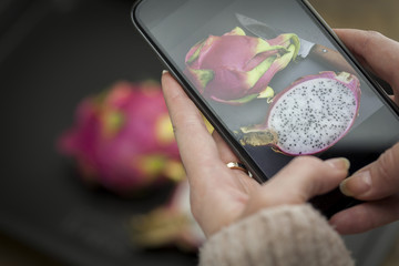 Hand holding cell phone with picture of dragon fruit