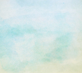 Light blue paint watercolor backgrond on paper