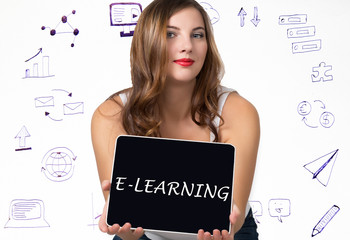 Young woman holding pc tablet with writing word: e-learning. Technology, internet, business and marketing concept.