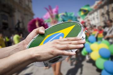 tambourine player on samba parade