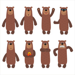 Set funny brown bear in different poses. Collection isolated cartoon bear on white background.