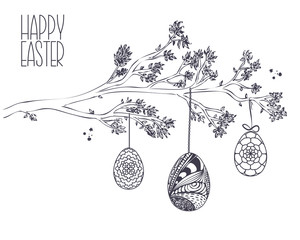 Easter greeting card with  Hand drawn Branch with leaves and Han