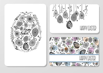 Set of Decorative Easter Cards with hand drawn ornamental eggs a