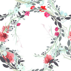 Set of flowers, leaves and branches, painted in watercolor, isolated on white. Sketched wreath, floral and herbs garland. Seamless pattern.