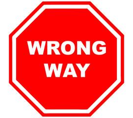 wrong way sign red